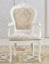 French Provincial Armchairs Dining Chair Vintage Queen Anne Back Wooden Legs