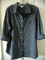 Old Navy Black & White Mini Check Plaid Cotton Flannel Shirt 3X 2X 18 20 22 XXL