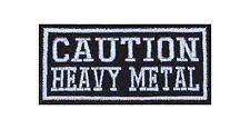 Caution Heavy Metal Patch Aufnäher Badge Biker Heavy Rocker Bügelbild Kutte Moto