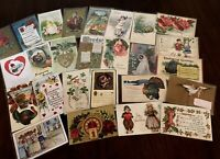 Vintage Mixed Lot of 25 Holidays & Greetings Postcards-Antique- ~in Sleeves-b32