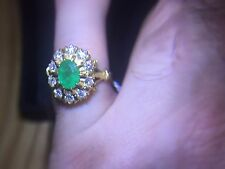18ct Gold Emerald & Diamond ring, total 3.0ct.