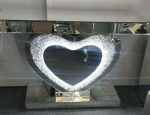 Diamond Crush Mirrored LED Heart Console Table