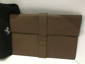 NEW FERRARI SCHEDONI COLLABORATIN CLUTCH BAG REAL BROWN LEATHER