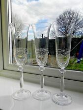 Set of Three Tall Glass Champagne Flutes