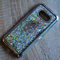 Samsung Galaxy S8 Glitzer-Hülle Silber flüssig Liquid Silikonhülle Strass-Rahmen