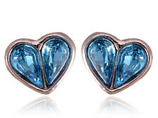 Alimarket Crystal Elements Mini Light Sapphire Half Of My Heart Button Earrings