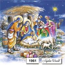 (1961) TWO Individual Paper LUNCHEON Decoupage Napkins NATIVITY JESUS CHRISTMAS