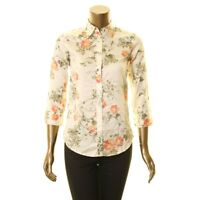 LAUREN RALPH LAUREN Women's Cotton Floral-print Button Down Shirt Top XXS TEDO