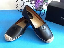 New COACH Rhodelle Black Saddle Leather Espadrilles Slip On Flat w/Beige Sole