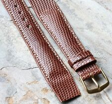 Padded Genuine Lizard 19mm contrast stitch open-ended Hirsch vintage watch band