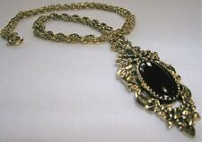 "Goldtone On 24"" Rope Link Necklace Vintage Sarah Coventry Faux Black Onyx Floral"