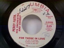 "PERCY FAITH ""FOR THOSE IN LOVE / THERE WAS A TIME"" 45 NEAR MINT PROMO"