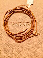 New Pandora Khaki Cotton String Brac/Necklace 14ct 14k Gold Ends350960CKH 100cm