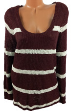 Charlotte russe maroon white striped scoop neck long sleeve pullover sweater 2X