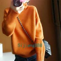 Women High Collar Cashmere Long Sleeve Winter Warm Sweater Turtleneck Pullover
