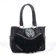 Cross Charm Western Style with Fringe Accent Tote Bag BG-MJ6802