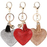 Women's Heart-shaped Rhinestone Love Tassel Keychain Bag Pendant Key Ring Gifts