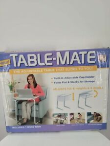 TABLE MATE Foldable Portable With Cup Holder Adjustable Tray