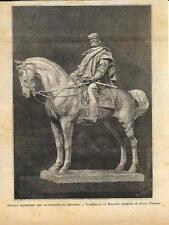 Stampa antica MILANO Largo Cairoli Statua Giuseppe Garibaldi 1888 Antique print