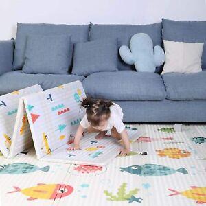 2 Side Baby Play Mat Cartoon Foam Crawling Mat, Folding Non-Slip and Waterproof