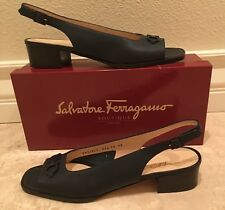 SALVATORE FERRAGAMO Navy Blue Leather OpenToe Slingback Low Heel 10 4A Italy NEW