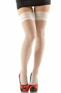 Fishnet Wide Lace Top Hold Up Stockings Liza Fashion Stay Up Hosiery Nylons