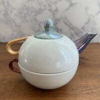 Tea for One Porcelain Teapot Made In Japan by C & R - White / Multi-Colored