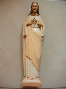 Ancienne statue catholique Jésus Coeur Sacré en plâtre polychrome de 34 cm