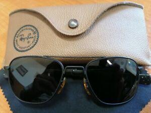 Vintage American Optical Original Sunglasses Aviator Pilot Black Metal Frame