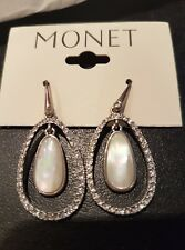 BNIB SIGNED MONET SILVER TONE DIAMANTE EARRINGS