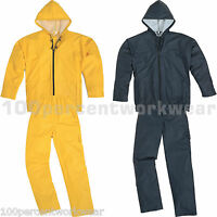 Delta Plus Panoply EN850 Work Hooded Rain Suit Overalls PU Coated Waterproof New