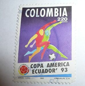 1993 Football Copa America Ecuador - Colombia National Team STAMP Very Old/Nice!