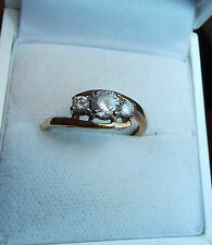 Cz Love Ring Band Size 7 11M 36 Vtg Hallmarked 9K 375 Yellow Gold 3 Stone Bypass