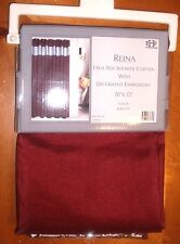 "FAUX SILK SHOWER CURTAIN WITH DECORATIVE EMBROIDERY SIZE 70""X 72"" NEW"