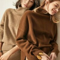 Women's Cashmere Pullover Sweater Oversize Turtleneck Thick Warm Top Coat