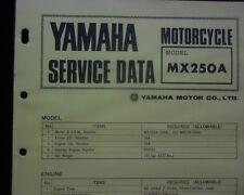 1973-74 Yamaha MX250A, MX250 Service Data specification booklet, Workshop manual