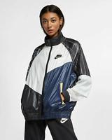 Nike Womens Sportswear NSW Woven Track Jacket New Black White Active AR3025-010