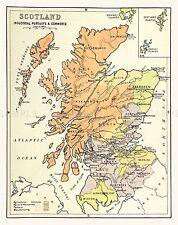 Mappa Repro Antico Scozia Scottish Industria Commercio grandi ART PRINT lf909