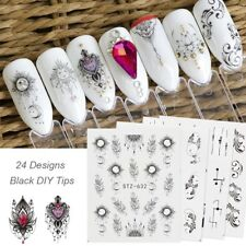 TOP 24 Sheets Dreamcatcher Feather Moon Water Decals Nail Art Transfer Stickers