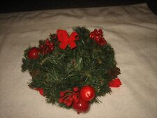 Christmas Pillar Candle Wreath Ring Holder Pine Cones Apples And More Home Decor