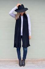 Women's Black Superfine Merino Wool Wide Scarf;Pashmina;Wrap - Australian Made