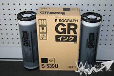 2 Genuine Riso OEM S-539 Black Inks Risograph GR 1700 1750 2700 3700 3750 S-3878