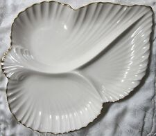 LENOX THREE PART LEAF SHAPE SERVING PLATE IVORY WITH GOLD ACCENT MADE IN USA