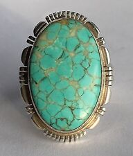 Vintage Navajo Native American Sterling Silver Teal Blue Turquoise Ring - RCC