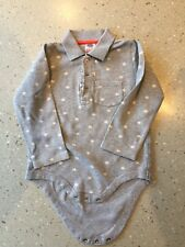 Beautiful grey Mini Boden vest, shirt style collar & white stars 18-24 Months