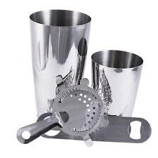 4 Piece Stainless Steel Bartender Set Bar Kit Shakers Tin Strainer Bottle Opener
