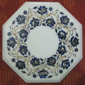 18 Inches White Marble Coffee Table Top Lapis Lazuli Stone Inlaid Patio Table