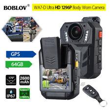 """BOBLOV WA7-D HD 1296P 64GB 2.0"""" Body Worn Camera Remote Control GPS for Police"""