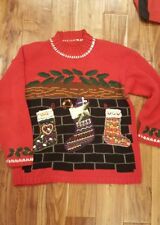 L Vtg Ugly Christmas Sweater RED PARTY OFFICE stockings mistletoe candycady cane
