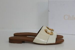 New sz 9.5 / 40 Chloe White Leather C Logo Slide Open toe Sandal Flat Shoes